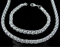 Wholesale Retail lowest price Christmas gift silver Necklace Bracelet set S149