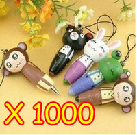 Wholesale Cute Cartoon Animals Portable Wooden Pen Mobile Phone Chain Straps Free EMS shipping