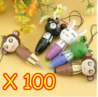 animal markers - Cute Cartoon Animals Portable Wooden Pen Mobile Phone Chain Straps Free EMS shipping