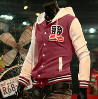 Wholesale 2011 New Stylish Men s quot R quot Baseball jacket long sleeve Varsity Letterman College jackets Coats