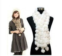 Wholesale XMAS GIFT Rabbit Fur Balls Pom Pom Scarves Scarf shawl wrap winter Neck Warmer mixed COLOURS