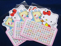 Wholesale 100 sheets pairs Multicolor Cartoon Cat Popular stick on earring rings Gift