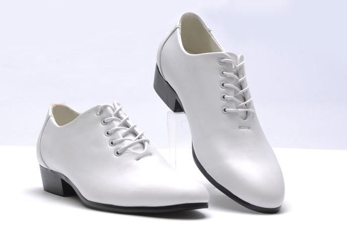 White Men Dress Shoes Groom Wedding Shoes Leather Lace Up Men ...