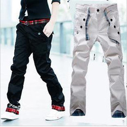 Wholesale Hot Fashion Men s Pants Off Korea Version Shitsuke Leisure Trousers Black Cream Colored zzwpp