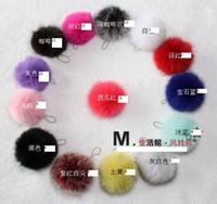 Wholesale Genuine Fox Hair Ball Cell Phone Pendant Charms Keychains Multi color Christmas cm
