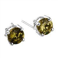 Wholesale Couples Jewelry silver dollar diamond stud earrings gemstone earrings Pair