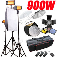 Wholesale 900W STROBE STUDIO FLASH LIGHTING KIT TRIGGER x W