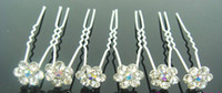 Wholesale Fashion Jewellery pc WEDDING BRIDAL SWAROVSKI CTYSTAL WHITE FLOWER HAIR PINS