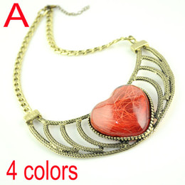 heart pendant necklaces , gold plated with resin encrusted NL-1525