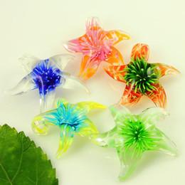 Italian starfish flower venetian lampwork blown murano glass pendants for necklaces jewelry handcrafted fashion jewellery mup2988