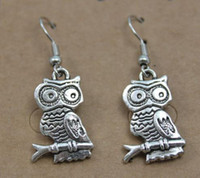 Wholesale 32pairs Night Owl Retro Vintage Simple Design Tibet Silver Women s Earrings Stud Red Blue Handicraft