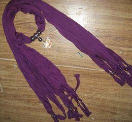 Plain Solid color Pendant Scarf Neck Scarves jewelry NECKLACE PENDANTSCARF 14pcs lot #1588