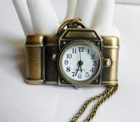 Antiquités montre de poche Avis-Caméra Antique quartz poche montre collier, cadeau de Noël 5pcs / lot 2113