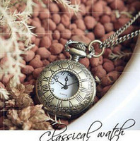 Wholesale Rome text Antique quartz pocket watches necklace christmas gift