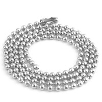 Unisex Stainless Steel Chains 50pcs 2.4mm 50cm 60cm 70cm 90cm stainless steel Ball Beads Necklace Chain free shipping