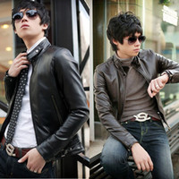 Wholesale 2015 men s jacket clothing outerwear coats Men Slim Fit Sexy Style PU Leather Jacket Coat Color Size