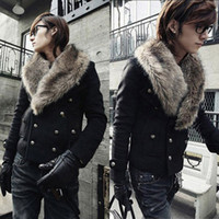 fur coat men - Men Winter Slim Fit Fur Collar Design Coat Jacket