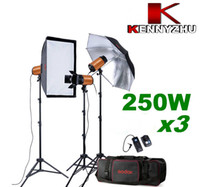 Wholesale 750W Photo Studio Strobe Flash Light Lighting Kit x W Stand Bag GN With Buzz Function