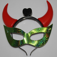 Wholesale Multi colors ox horn LED mask halloween party masks ox horn masks