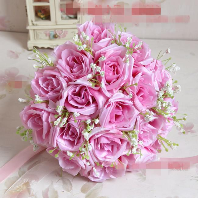 Fresh Flower Bridal Bouquets Online : Populary bride wedding bouquet pink rose hot sell
