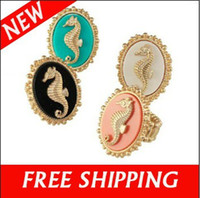 Wholesale Vintage Sea Horse Shape Unisex Hippocampus Ring With Stretch Elastic Cocktail Rings