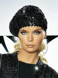 Wholesale Black Silver Sequins Stretch Beret Beanie Fashion Hat Cap Hot You Can pick Color for Christmas gifts