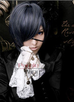 Wholesale HOT Black Butler Ciel Phantomhive cosplay wig Kuroshitsuji Blue Black Short Wig