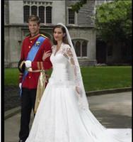 Wholesale 2012 inexpensive wedding dresses strapless brush train hand flower lace empire wedding bbv