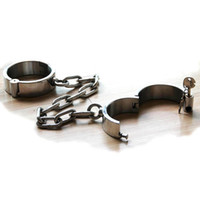 Wholesale 100 Stainless Steel Heavy Duty Ankle Shackles Dungeon Irons with Round Lock in it