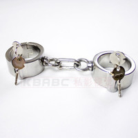 Wholesale 100 Stainless Steel Heavy Duty Wrist Manacles Dungeon Irons with Round Lock