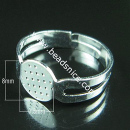 Beadsnice Iron adjustable ring base with 8x7.5mm pad ring blanks for costume jewellery ID 4831