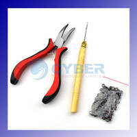 Wholesale Feather Hair Extensions handle Tool Kit Pliers Hook amp Micro Silicone Link Beads Adeal