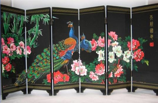 Peacock Wood Lacquer Screen Chinese Ethnic Screen 6 Flap Home
