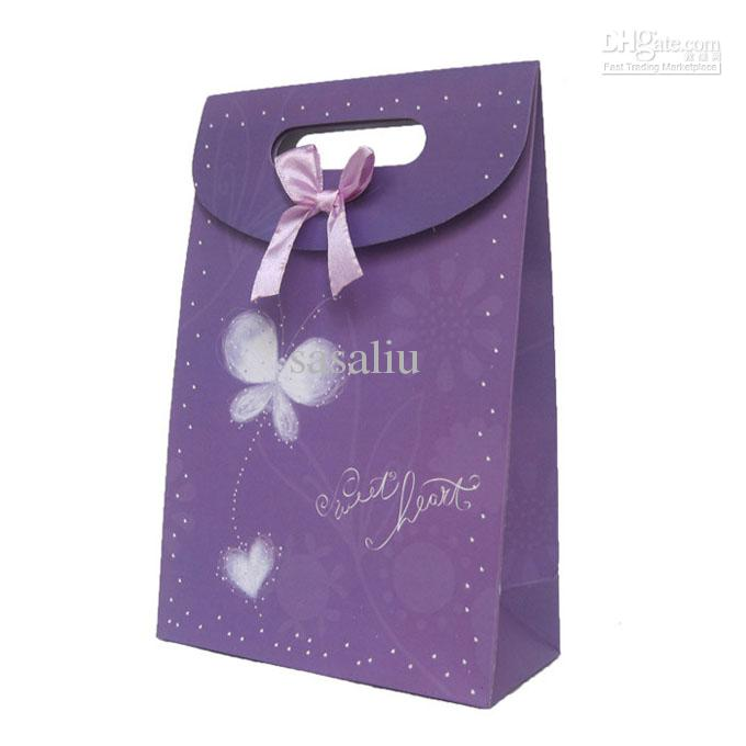 Gift Bags Purple Bow Paper Gift Wrap Bags M Size