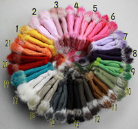 Wholesale Rabbit Fur Gloves Half fingers Gloves Winter Fingerless Gloves Multi colored