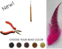 Wholesale Christmas Gift Promotion Feather Hair Extensions Kit pieces beads pliers needle by DHL