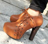 Women Pumps Winter trendy brown black 2 colors high platform heel lace up on side dress shoes