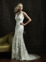 Wholesale Custom Made A Line V Neck Ivory Lace Applique Sexy Glamour Latest Style Bridal Gown Wedding Dresses