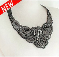 Wholesale Handmade Black Sequin Beads Lace Ribbon Choker Collar Necklace With Diamond Chokers Necklaces
