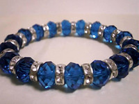 Wholesale HOT Dark Blue Glass Crystal RHINESTONE Bead Bracelet Fashion Jewelry Findings