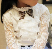 Wholesale Children T shirt Girls Lace sleeves Primer shirt