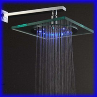 Wholesale LED shower Temperature color shower Plexiglass top spray spray color top Free Power04