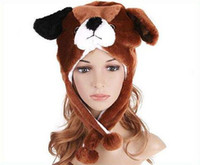 Wholesale by EMS Cute Cartoon Animal Hat Plush Warm Cap Brown Dog Puppy Hat Hats