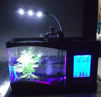 Wholesale USB Desktop Aquarium LED Lamp Light Mini Table Fish Tank Jar Clock Pen Holder Multifuntional