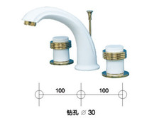 gold and white  bathroom widespread faucet - Bathroom Sink Widespread Lavatory Faucet golden PVD handle WHITE FAUCET wt