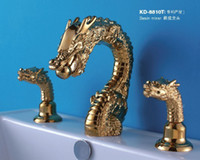 pvd gold  animal faucet - Bathroom Sink Widespread Lavatory DRAGON ANIMAL GOLD PVD Faucet