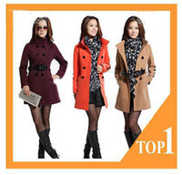 Wholesale 2011 new fashion womens ladies wool coat outdoor Promotional winter clothes trench coat overcoat