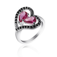 Wholesale Good selling Saucy Jewelry Vogue Pink Gemstone Heart Rings silver New Jewelry NEW