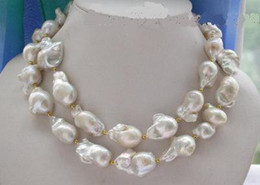 """New 33"""" 22-23mm BAROQUE WHITE KESHI REBORN PEARL NECKLACE"""