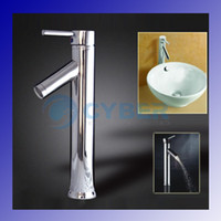 Wholesale NEW Modern Chrome Bathroom Tall Faucet Vessel Sink Lavatory Basin Hot amp Cold Water